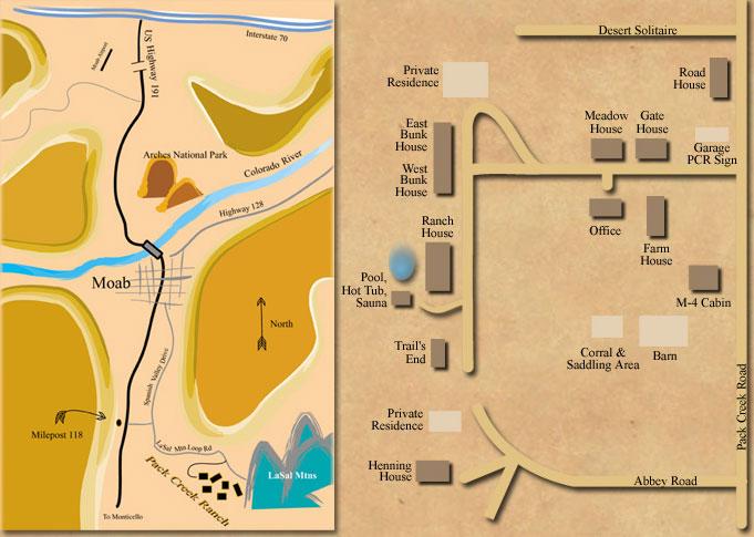 Map Pack Creek Ranch Cabin Rentals Moab Utah